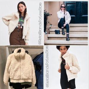 ZARA Fleece Fur Teddy Bomber Quilted Jacket